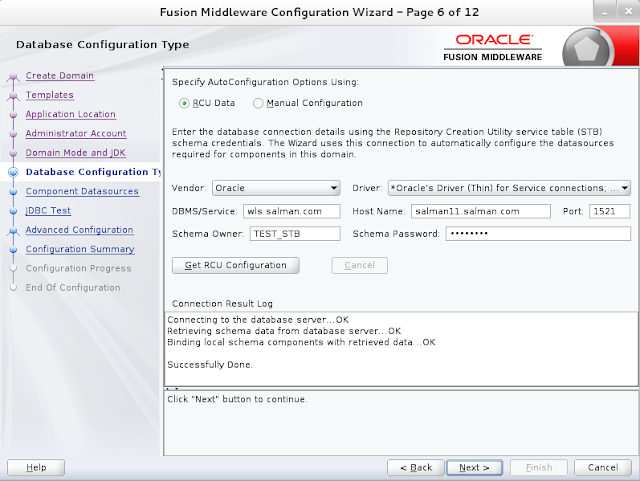 Weblogic domain creation step 6B