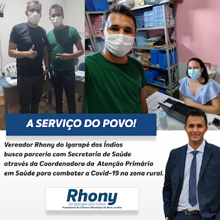 Vereador Rhony do Igarapé dos Índios busca parceria com Secretaria de Saúde através da Coordenadora da Atenção Primária em Saúde para combater a Covid-19 na zona rural.