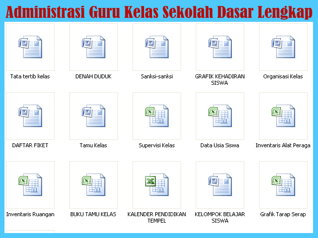 Administrasi Guru Kelas Sekolah Dasar (SD) Full Lengkap