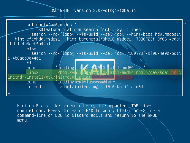 What is the default password for kali linux?
