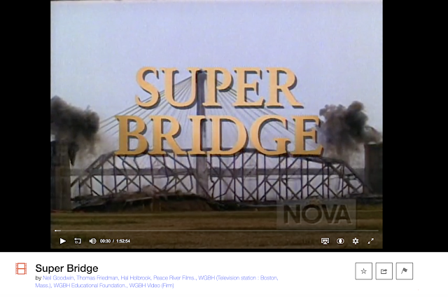 video snippet image from Super Bridge PBS NOVA special about the building of the new Clark bridge in Alton Illinois over the Mississippi River
