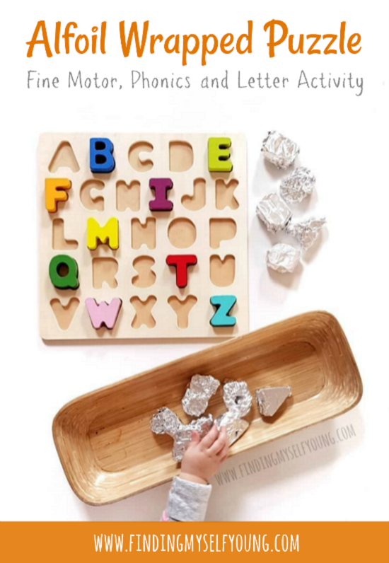 Aluminium foil wrapped puzzle fine motor, phonics and letter activity.