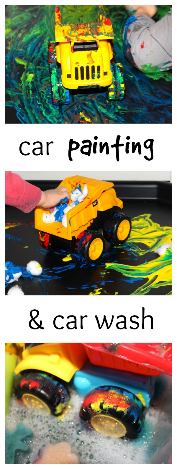 Painting with toy cars- process art for toddlers and preschoolers