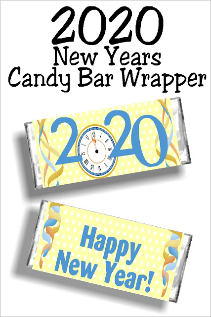 Whether you share these free printable candy bar wrappers at your New Years Eve party or on New Years day, this 2020 candy bar wrapper is the perfect way to wish friends and family a Happy New Year.  #newyearseveparty #printablecandybarwrapper #diypartymomblog