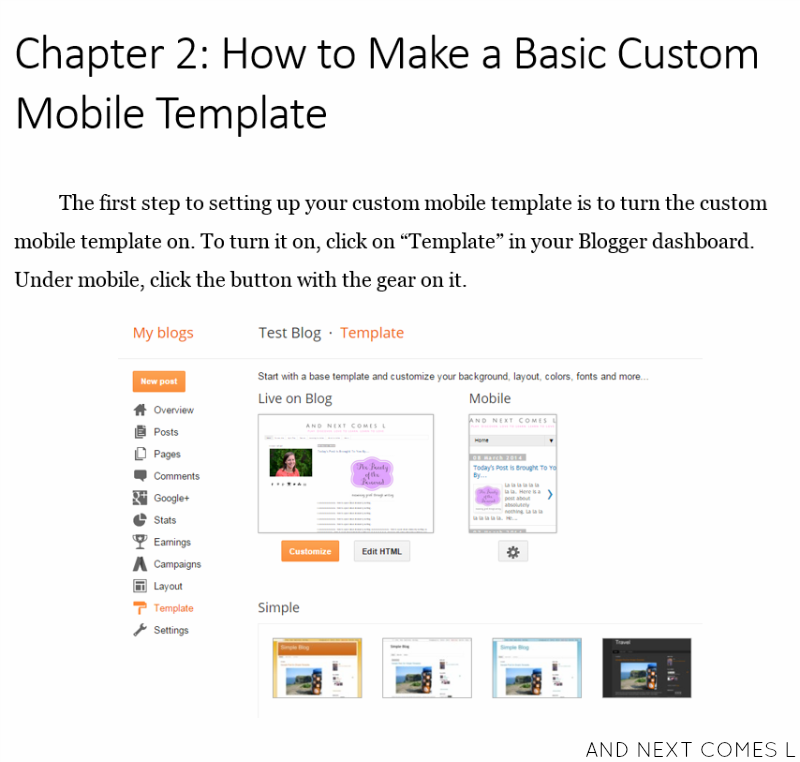 A look inside the eBook How to Create a Custom Mobile Template on Blogger from And Next Comes L