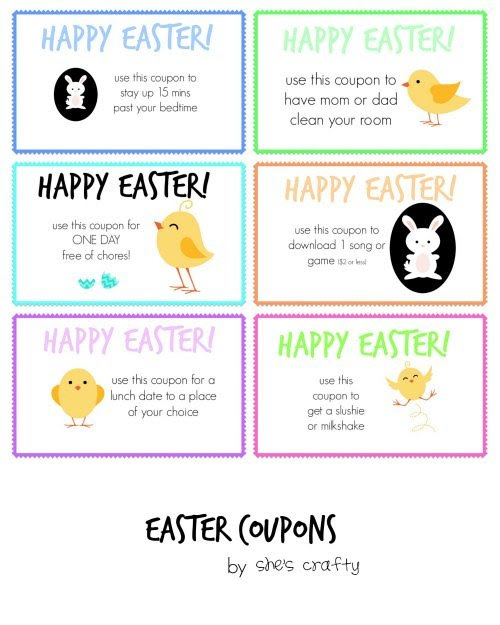 Easter Egg Hunt ideas - free printable Easter Coupons