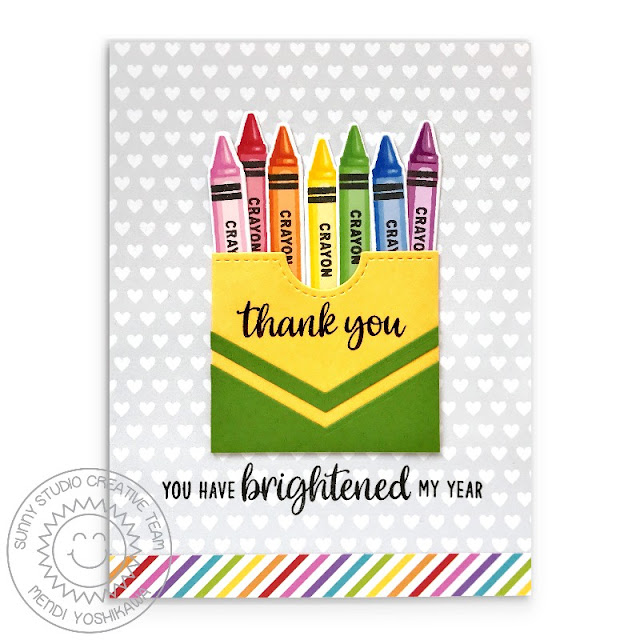 Sunny Studio: You Have Brightened My Year Crayon Box Card (using Color My World Stamps, Teacher Appreciation Stamps, Gift Card Pocket Dies, Fishtail Banner Dies, Rainbow Bright & Subtle Grey Tones Paper)
