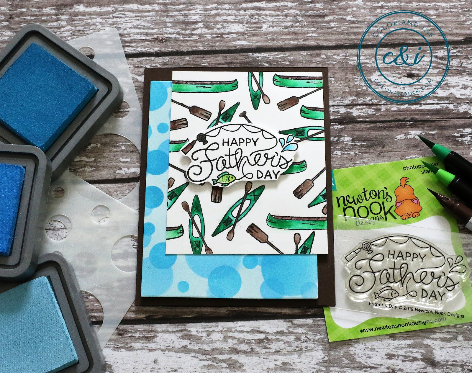 Father's Day Cards by May Guest Designer Anika Mercier | Lake Advice Stamp Set and Bokeh Stencil Set by Newton's Nook Designs #newtonsnook #handmade