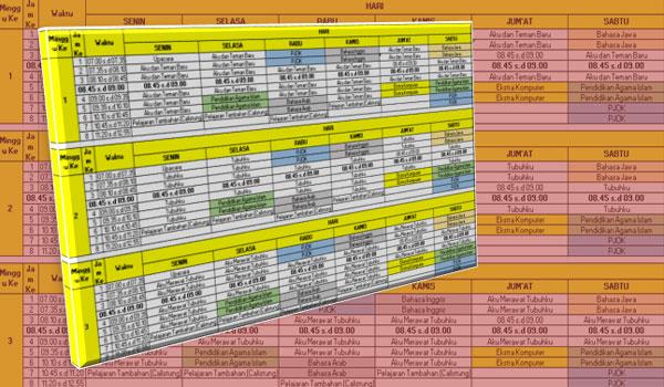 Contoh Format Jadwal Pelajaran Gabungan Kurikulum 2013 dan KTSP SD MI