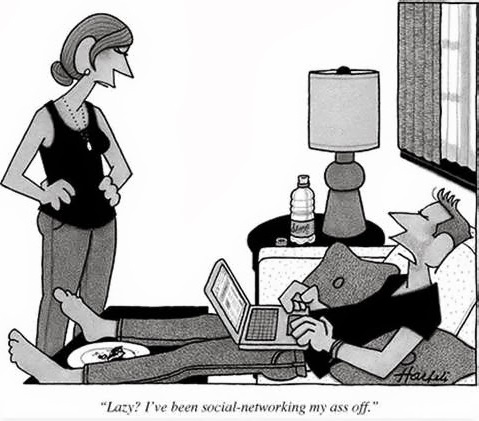 Funny lazy social networking cartoon picture