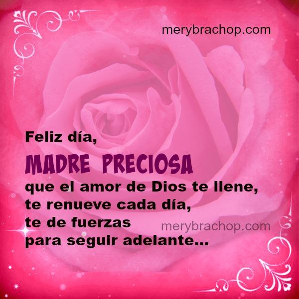 bonita imagen tarjeta con rosa mensaje cristiano para una madre en el día de las madres