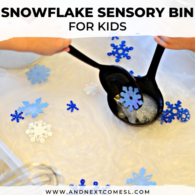 Snowflake sensory bin for kids