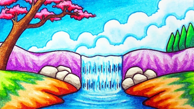 Gambar pemandangan air terjun berwarna