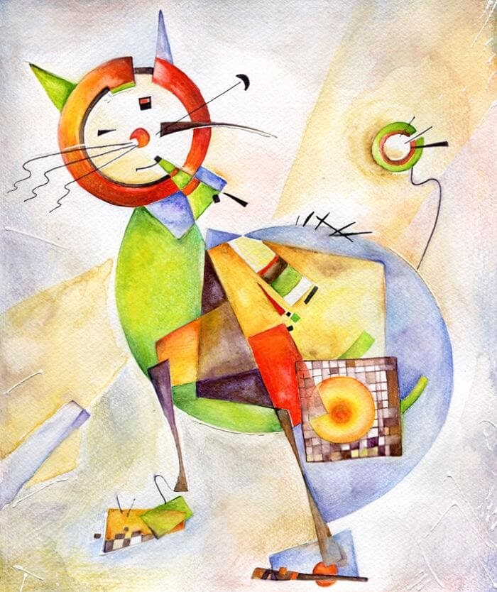 04-Inspired-By-Wassily-Kandinski-Veselka-Velinova-Paintings-of-12-Cats-in-Different-Art-Styles-www-designstack-co