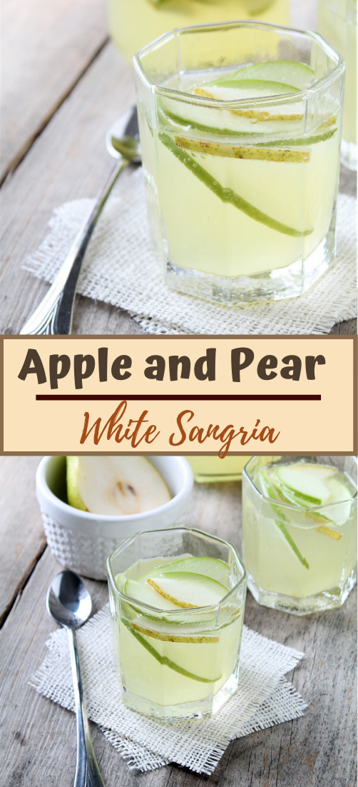 Apple and Pear White Sangria  #healthydrink #easyrecipe #cocktail #smoothie