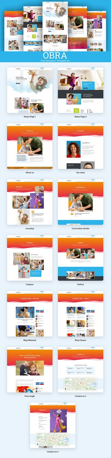 Kids Education & School Website Template Kit