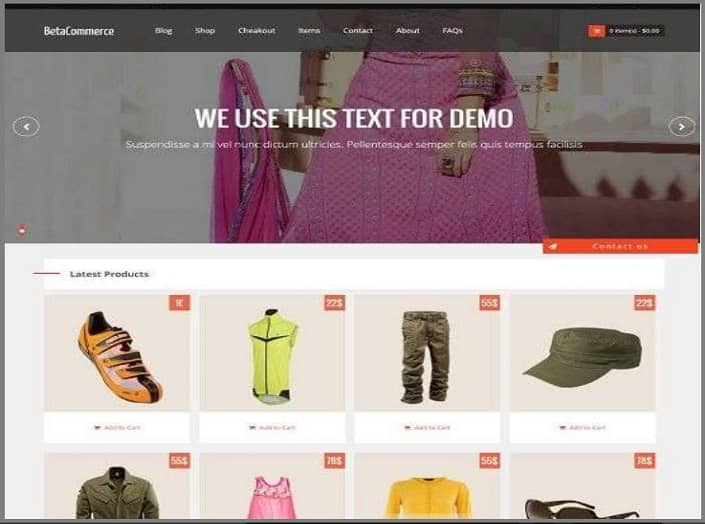 Beta commerce blogger theme