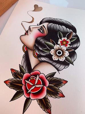 Woman Smoking Cigar Tattoos form