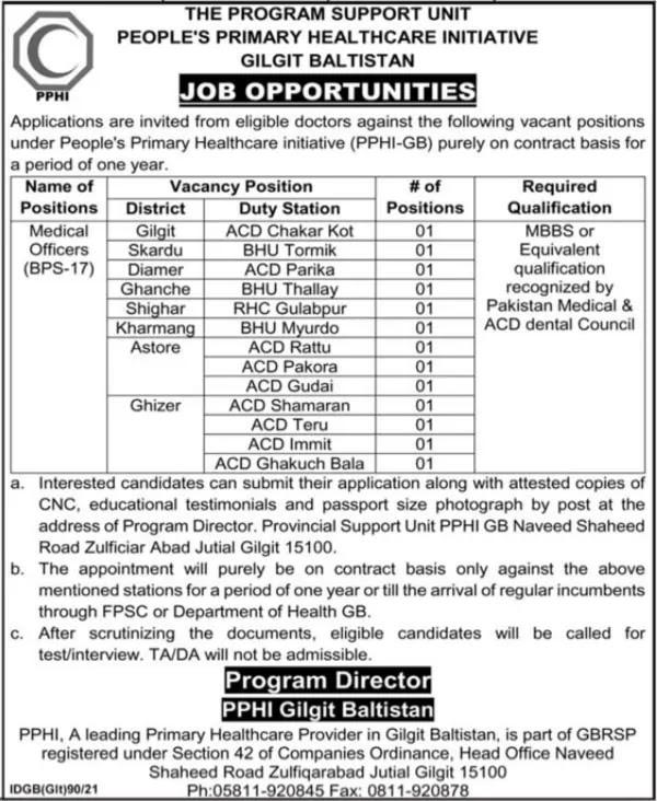 Medical Officers Jobs at PPHI Gilgit Baltistan 2021