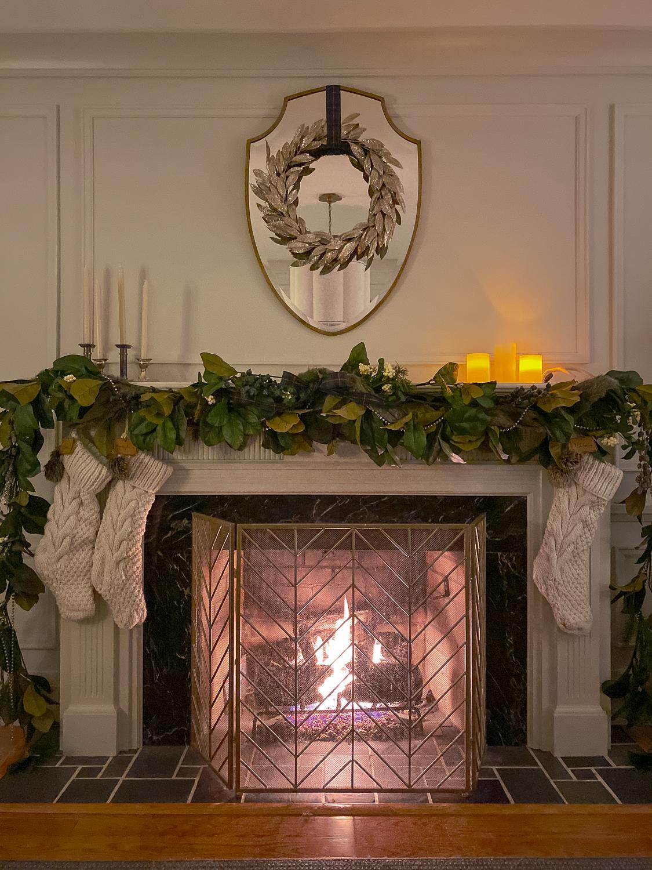 traditional living room at christmas, christmas tree at night, christmas living room at night