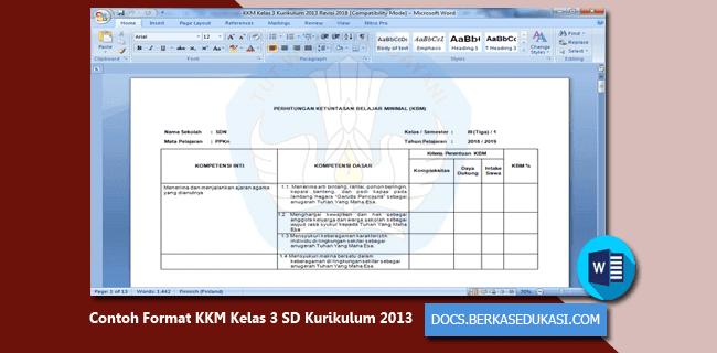 Contoh Format KKM Kelas 3 SD Kurikulum 2013