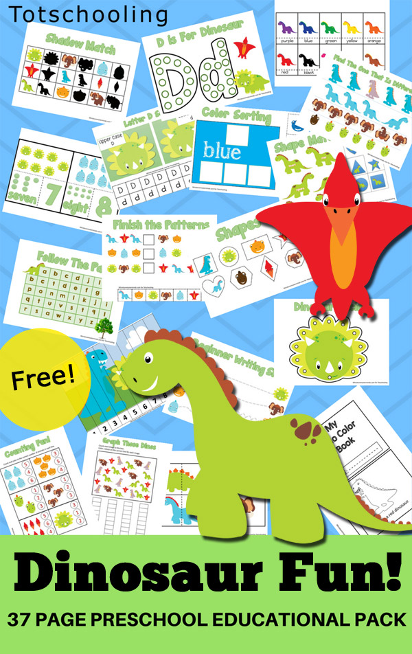FREE Dinosaur themed pack for preschoolers to practice numbers, counting, letters, colors, shapes, prewriting, sight words and more with fun learning sheets such as puzzles, sorting mats, coloring sheets and more!