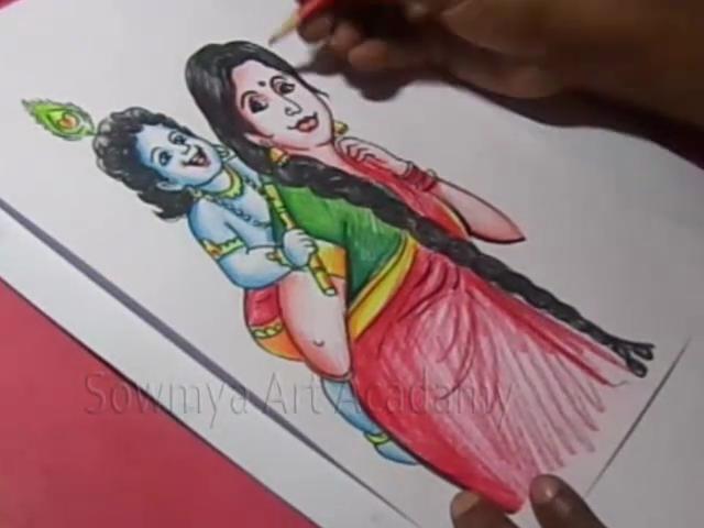Kids Cartoon Drawings How To Draw Lord Sri Krishna And Yashoda Drawing