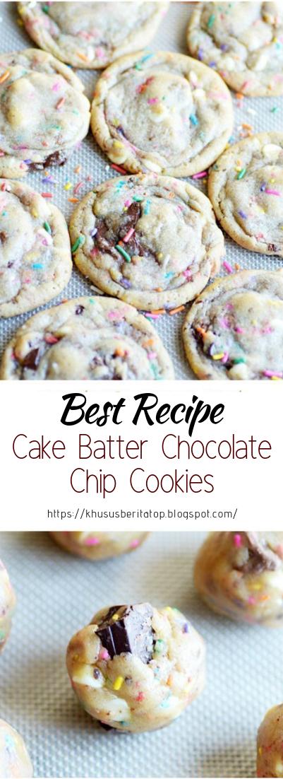 Cake Batter Chocolate Chip Cookies #desserts #cakerecipe #chocolate