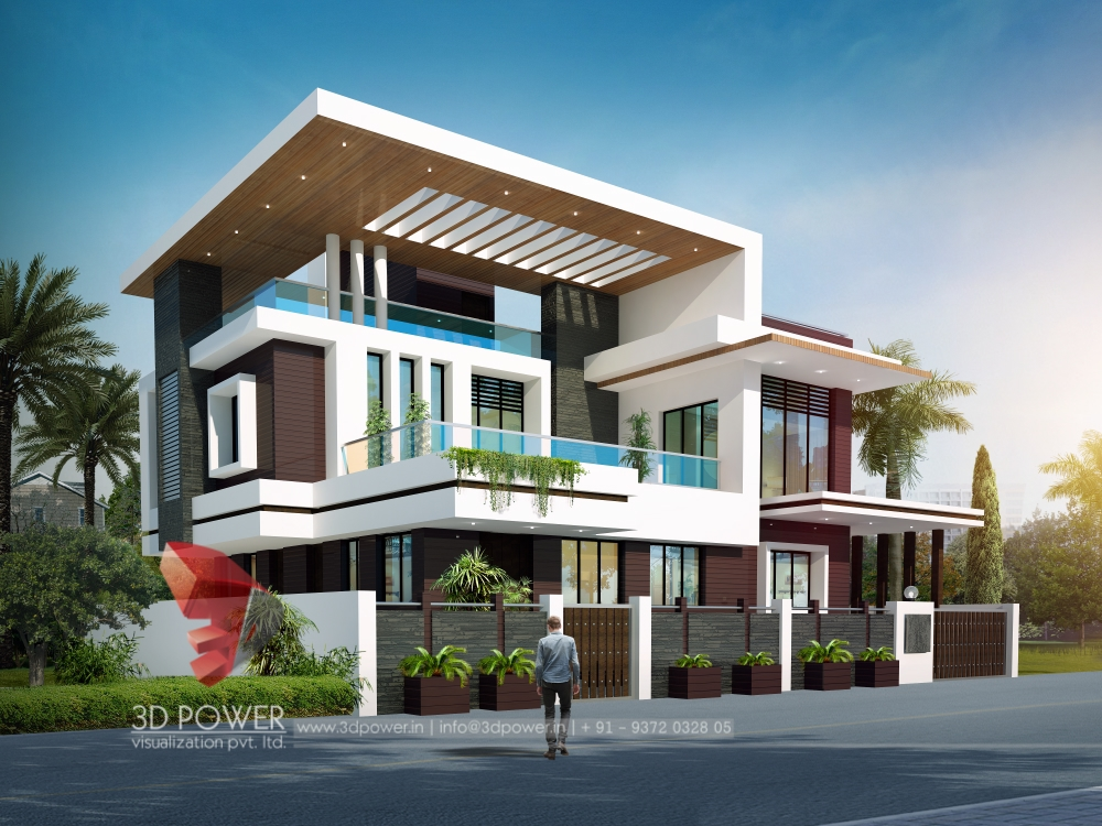 Residential towers row houses township designs villa for 3d images of bungalows