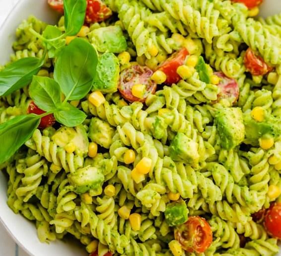 Creamy Avocado Pasta Salad #vegetarian #healthy