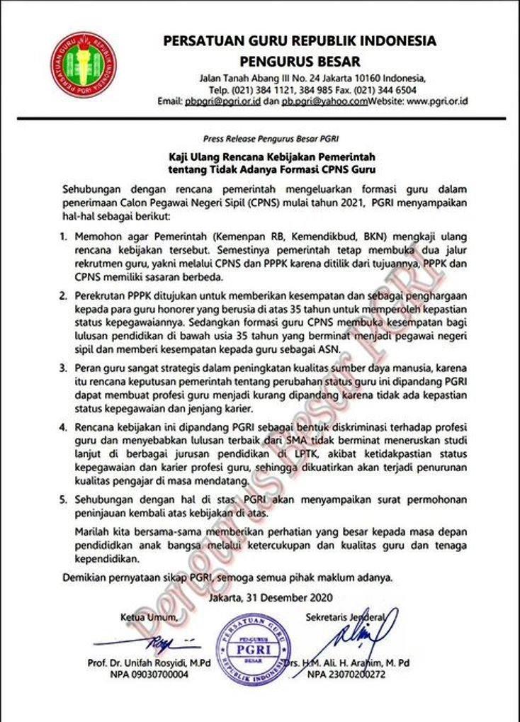 "Sikap PGRI Terhadap Pernyataan Kepala BKN ""Guru beralih menjadi PPPK, jadi bukan PNS lagi"""
