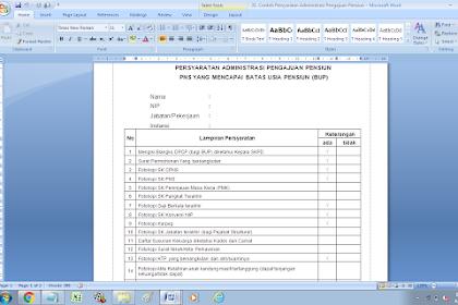 Contoh Persyaratan Administrasi Pengajuan Pensiun PNS