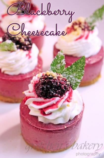 Miniature Blackberry Cheesecakes
