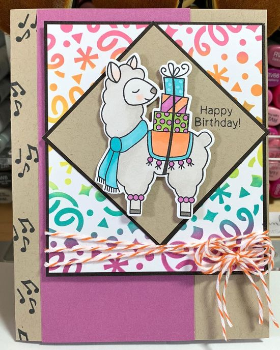 Happy birthday by Kimmie B. features Llama Delivery and Confetti by Newton's Nook Designs; #newtonsnook