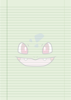 Papel Pautado do Bulbasaur Pokemon PDF para imprimir na folha A4