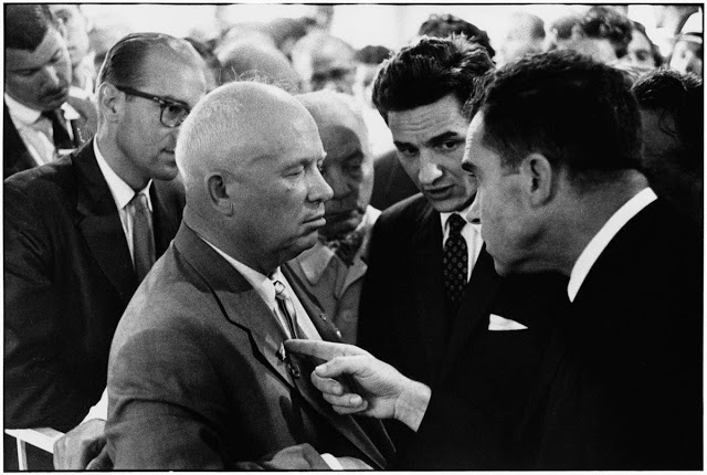 debate between Soviet Premier Nikita Khrushchev and U.S .Vice President Richard Nixon in Moscow's Sokolniki Park, 1959. Misspelled Impeach. marchmatron.com.