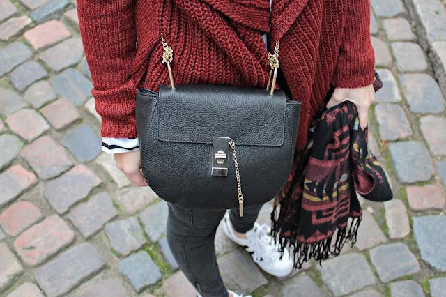 outfit post, josie´s little wonderland, fashion, autumn, cozy, knitwear, outfit, chloé dupe, bag, details