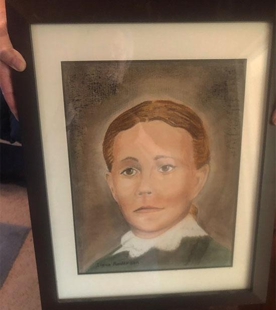 Colorized portrait of Hannah Baldwin (Source: Ilene Deamer)