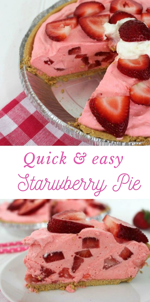 QUICK & EASY STRAWBERRY PIE RECIPE #pie #dessert