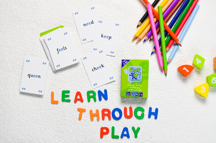 Learn through play, primary aged home learning, phonics aids, got it cards