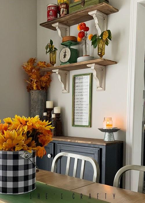 Fall shelf decor with dry erase frame
