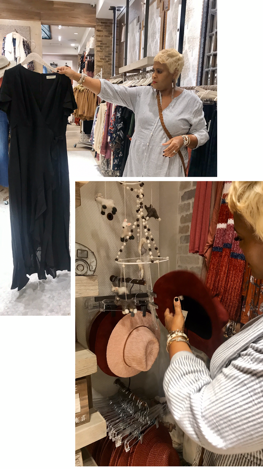 Woman trying on black dress, hats and more. Altar'd State. Funny Dressing Room Dilemma. Shopping and Try On