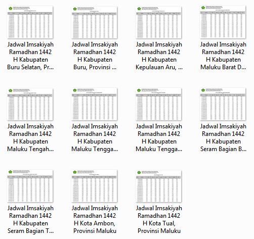 Download Kumpulan Jadwal Imsakiyah Ramadhan 1442 H Kabupaten/Kota di Provinsi Maluku Utara