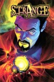 Cover of Strange, featuring a pale-skinned man with a dark goatee. He holds a glowing device.