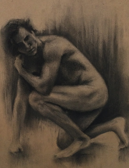 Figure sketch, drawing, charcoal, nude model, male nude