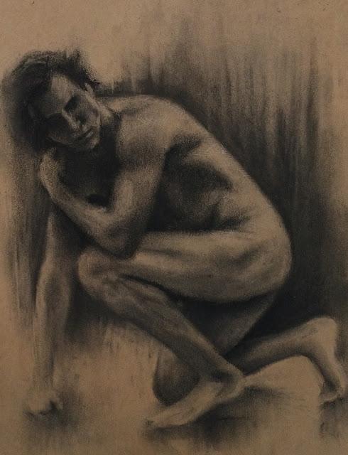 Figure sketch, drawing, charcoal, nude model, male nude