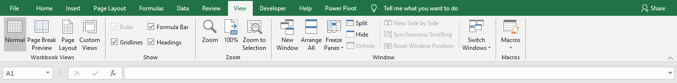 Tab View MS Excel