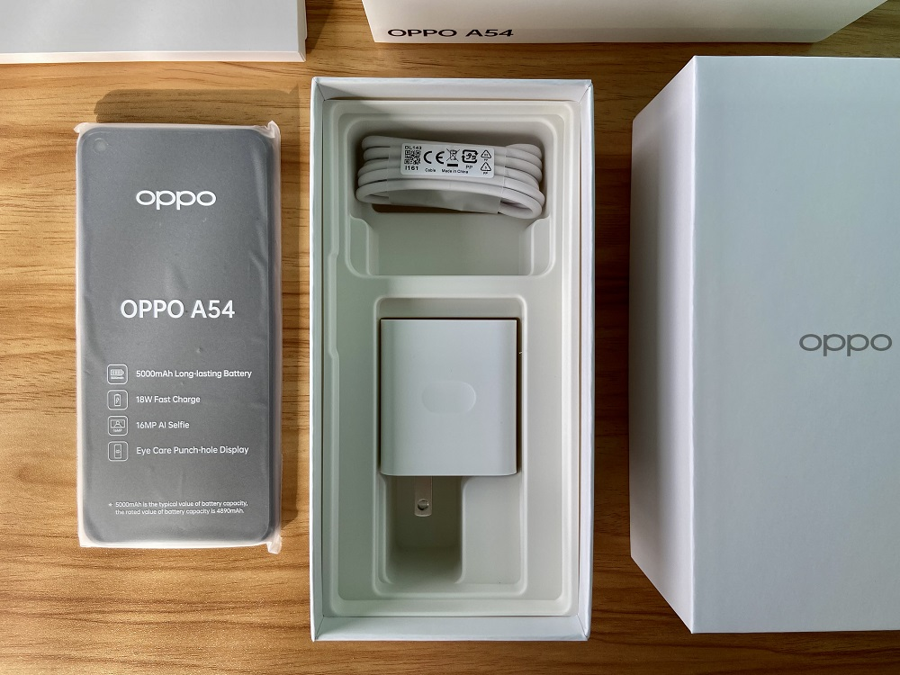 OPPO A54 - Charging Cable and 18W Fast Charge