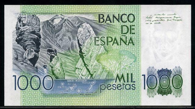 Spain currency 1000 Pesetas Teide National Park Tenerife Canary Islands Spain