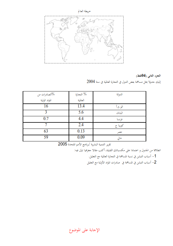 اختبار الفصل الاول في مادة التاريخ والجغرافيا للثالثة ثانوي